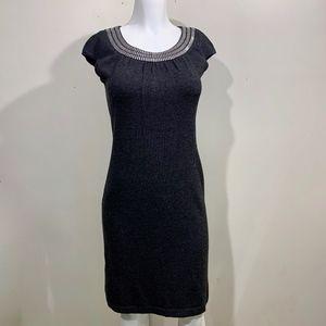 St. John Sweater Dress Santana Knit Grey Jeweled